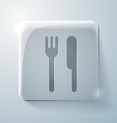 fork and knife Glass square icon with highlights vector image
