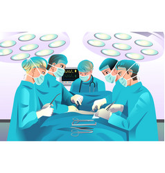 Group surgeons doing surgery vector
