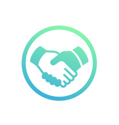 Handshake partnership deal icon over white vector
