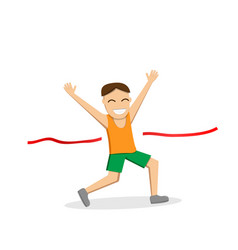 Happy male runner cross the finish line vector