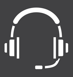 Headphones solid icon call center and website vector