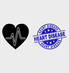Heart pulse icon and distress heart disease vector