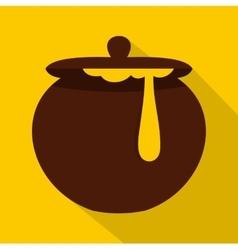 Honey pot icon flat style vector