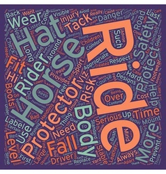 Horse And Rider Safety text background wordcloud vector image