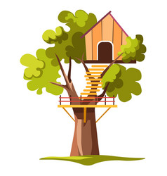 house on tree or treehouse with ladder and balcony vector image