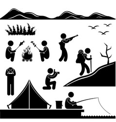 jungle trekking hiking camping campfire adventure vector image
