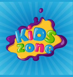 Kids zone logotype on color background on blue vector