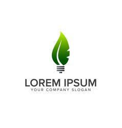 leaf bulb logo design concept template vector image