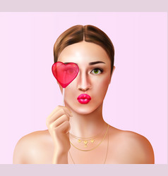 love candy woman composition vector image