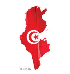 map tunisia federation with national flag vector image