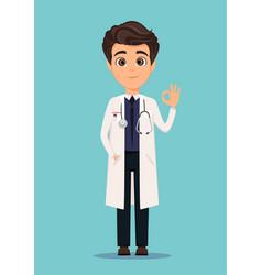Medical doctor in white coat showing ok sign vector