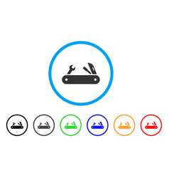 Multi-tools knife rounded icon vector