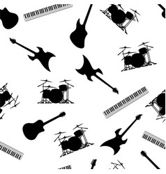 musical instruments seamless repeating pattern vector image