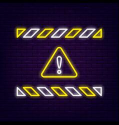 Neon warning sign vector