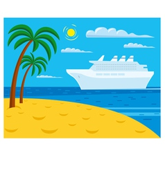 passenger cruise liner near tropical beach vector image