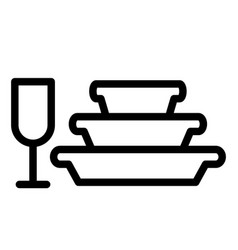 Pile plates and glass line icon stemware and vector