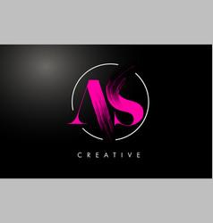 pink as brush stroke letter logo design vector image