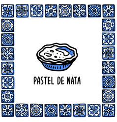 Portugal landmarks set pastel de nata vector