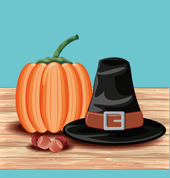 Pumpkin for thanksgiving day in wood table vector