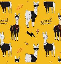 Rock llama cartoon alpaca character in vector