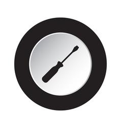 Round black and white button - screwdriver icon vector