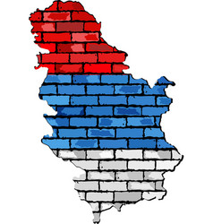 Serbia map on a brick wall vector
