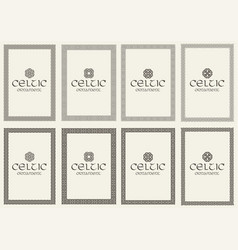 Set celtic knot braided frames bordesr vector