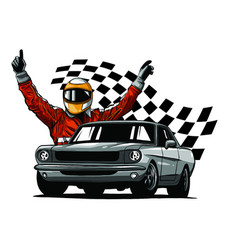 Set colorful fast retro motor racing cars on a vector
