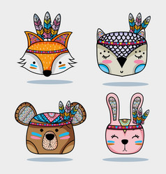 set cute animal tribal in the forest vector image
