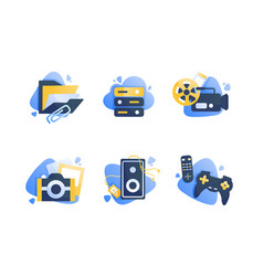 set icons with multimedia folder camera cinema vector image