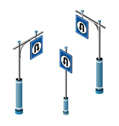 set isometric city road signs vector image