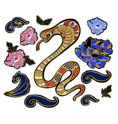 Set of elements snake and peony patch vector