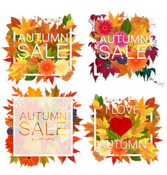 set of realistic autumn sale announcement in frame vector image