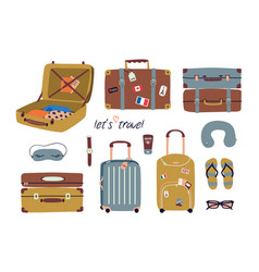 set with travel stuff luggage bags suitcases vector image