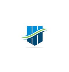 shape line wave business logo vector image