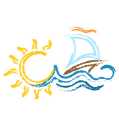 ship with sail on wave and sun vector image