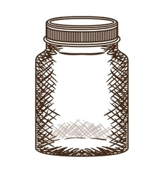 Silhouette vintage jar of jam with lid vector