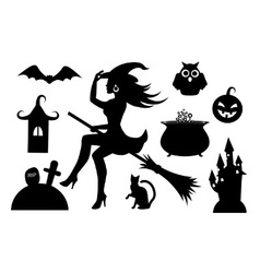 Silhouettes of Halloween characters vector