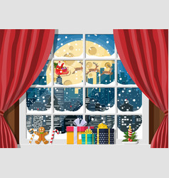Snowy cityscape in window vector
