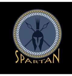 spartan helmet with spears and shield vector image