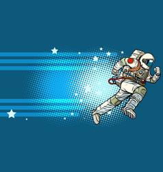stars space astronaut runs forward vector image