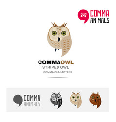 striped owl bird concept icon set and logo vector image