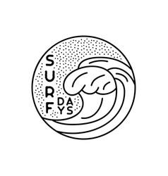surfing badge design summer crest logo with waves vector image