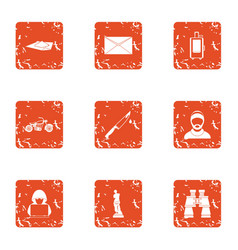 Technical reality icons set grunge style vector