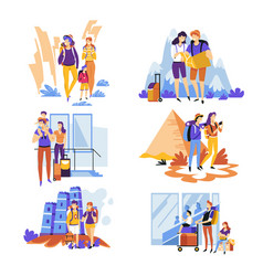 tourism and traveling couples and families vector image
