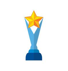 Trophy star in yellow success winner award vector