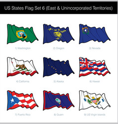 Us states flag set - east and free associated vector