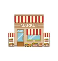 Vegetable Market Commercial Building Facade Design vector