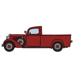 Vintage red delivery car vector