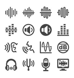 Voice and sound icon set vector